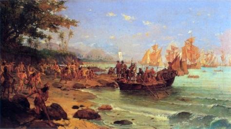 Ilustração do achado de Portugal no Brasil