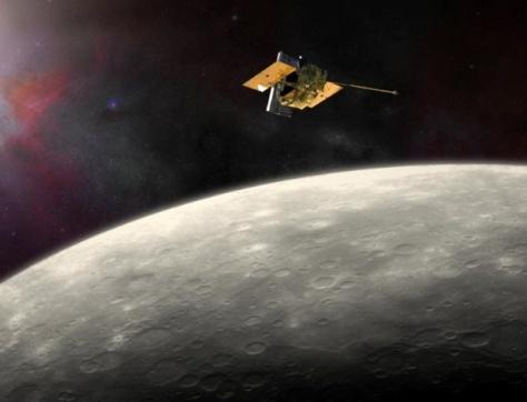 """Imagem artística mostra a superfície de mercúrio. A sonda MESSENGER da Nasa circulou o planeta durante os últimos quatro anos e vai dar um """"mergulho para a morte"""" no final de abril, quando ficará sem combustível"""