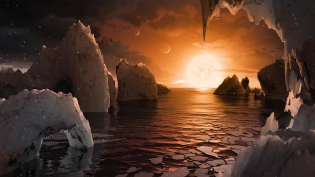 Ilustração artística da superfície de TRAPPIST-1f, um dos 7 planetas descobertos recentemente ao redor de uma estrela anã ultra-fria